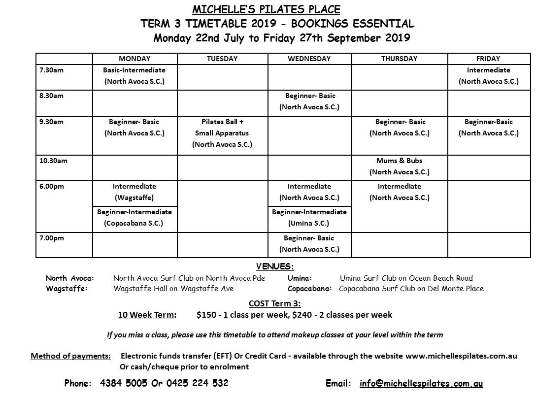 Pilates Classes Central Coast | Timetable & Venues